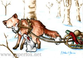 Christmas in the Woods ACEO by art-paperfox