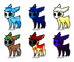 Elemental Skull Fuzzy adopts by qrave-digger