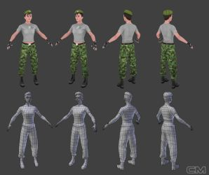 Low Poly Soldier fighter by contmike