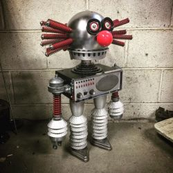 Found object robot assemblage evil clown  by adoptabot