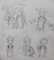 Tiny dorks at school :U by Annie-Aya