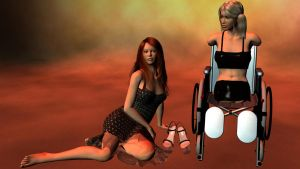 Vicky in her wheelchair by discoandrea