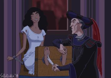 Esmeralda tickled by Frollo by solletickle
