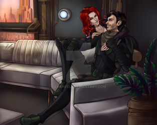 Couch snuggle by Evanyell