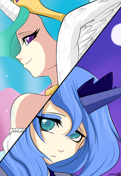 Celestia and Luna by Ninja-8004