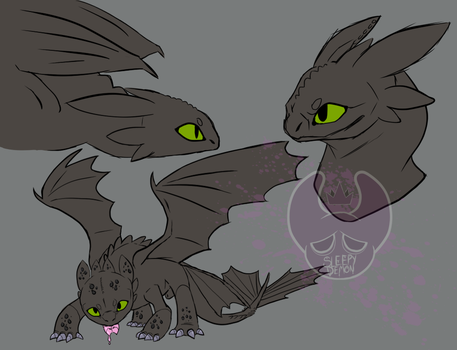 toothless, The night fury by SleepyDemonMonster