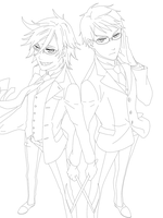 Young Will and Grell Line Art by Bakufun721