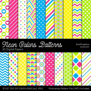 Neon Colors Patterns by MysticEmma