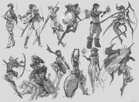Random Sketch Female Fantasy Class by tantaku