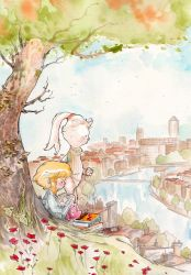 Alice and the White Rabbit watercolors by radja01
