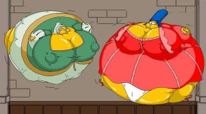 Marge Simpson and Anne Boleine ballooned by Pervertix