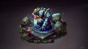 Isometric Ancient Golem by Sephiroth-Art