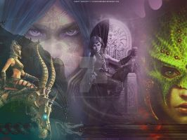 Wallpaper: Dubhe, Nihal, Sofia by GothicBrokenBabe