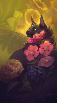 Kitty in the Flowers by chutkat