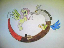 Fluttershy and Discord by ChibiFox12