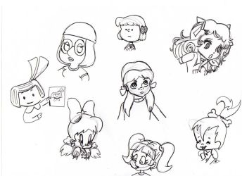 cartoon girls in different styles by thebigJ94