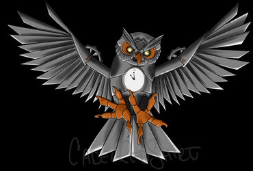 Clock Owl (commission) by CadetRedShirt