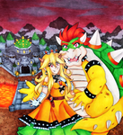 Peach and Bowser by MissMillia