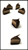 Polymer Clay - Chocolate Mousse Cake charms by Kai-ni