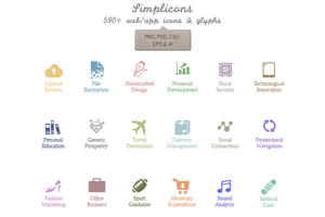 Simplicons - 590+ vector icons! [PSD] by okidoci