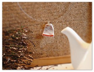 White and Red elegant broken china pendant by rouages