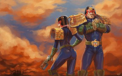 Judge Dredd and Judge Hershey by agentscarlet