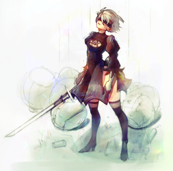 Nier:Automata 2B by InkyTophat