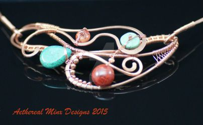 Copper, coral and turquoise collar necklace by AetherealMinx