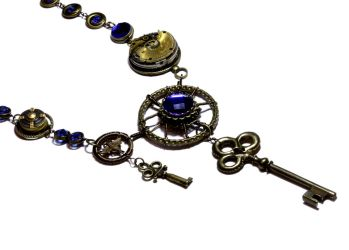 GateKeeper Steampunk Necklace - Royal Blue by CatherinetteRings