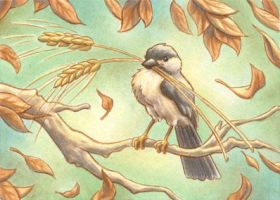 Autumn Chickadee by Red-Clover