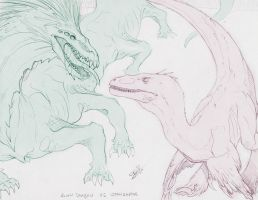 Alien Dragon vs Utahraptor by CosmicVirus