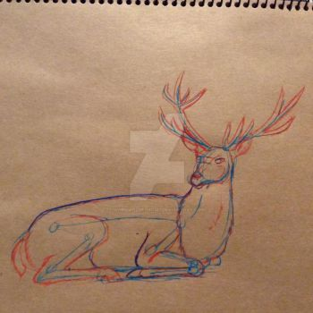 Red deer stag by whenwolveshowl