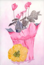 Watercolor - Pink Flowers and Yellow Bell Pepper by sle86