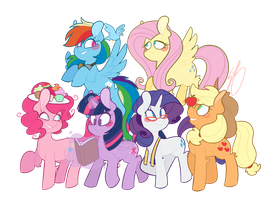 mane six. ( + SPEED-DRAW/REDBUBBLE LINK ) by sketchyemi