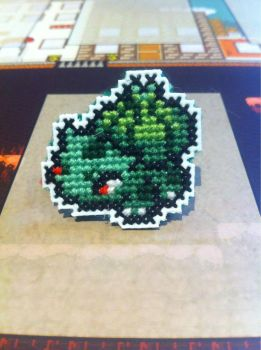 Bulbasaur cross stitch pin by fangy89