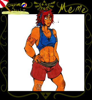 ((FoH Swimsuit meme)) Tama ready for water action by Franken-Fish