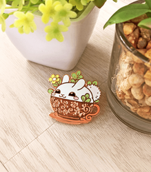 Puddle Bunny Teacup Enamel Pin by celesse