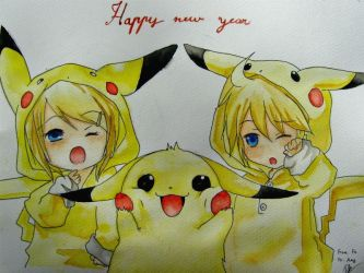 2012 New Year with Pika and Kagamine Twins by Jmylimerence