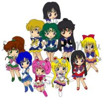 LCM Sailor Soldiers plus Chibi by SSFSeiyaKou