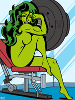 She-Hulk in the Gym by MCRE1201