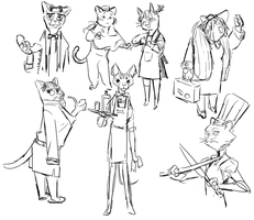 Cats sketches by benkate