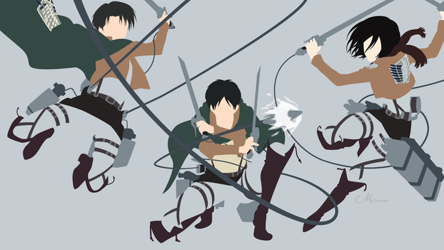 Eren, Mikasa and Levi from Attack on Titan by matsumayu
