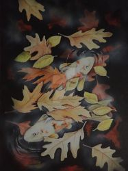 Koi with Autumnleaves by martoo1973