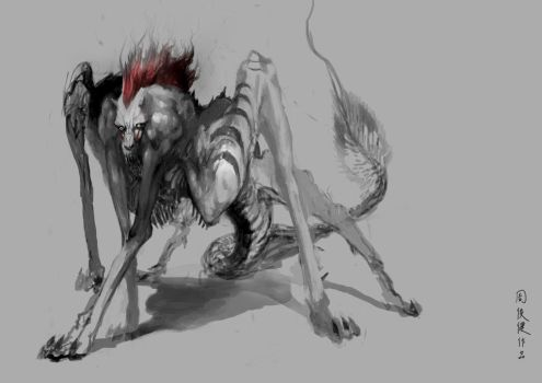 baboon, wolf, dragon by henryz