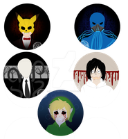 Creepypasta Buttons by SubduedMoon