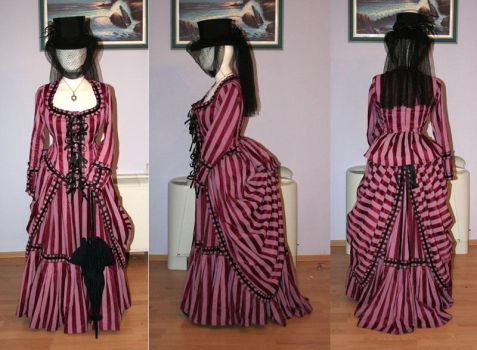 Striped Bustle Gown by azdaja