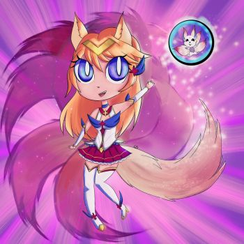 Star Guardian Ahri - chibi by Integra4Hell