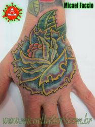 New Traditional Freehand Rose Hand Tattoo by micaeltattoo