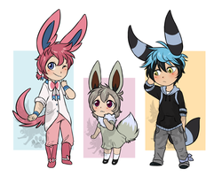 [CM] Sylveon + Shiny Eevee + Shiny Umbreon by ThatWildMary