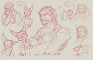 The Khajiit and the Orc Sketches by CoffeeAddictedDragon